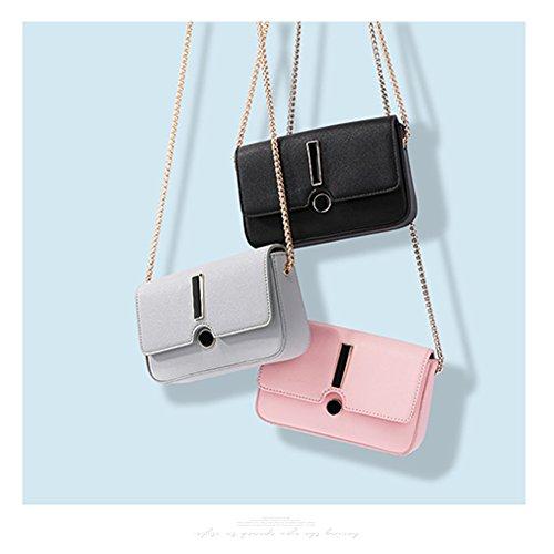 Yoome bolso de la aleta pequeña elegante cruz patrón Crossbody cadena de maquillaje bolso de cuero para las mujeres - Negro Negro