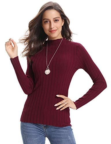 (Abollria Women's Long Sleeve Solid Lightweight Soft Knit Mock Turtleneck Sweater Tops Pullover)
