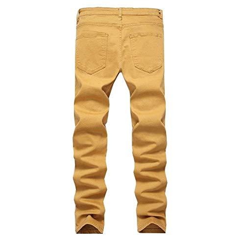 Slim Khaki06 Pantalones Hombres Skinny Casual Color Vintage Biker Sólido Pantalones Fit Pantalones Cargo Slim De Ripped Jeans Mezclilla Casuales De Jeans Los Fashion vnYfwIB
