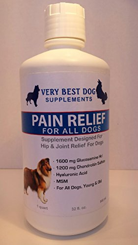 Liquid Glucosamine for Dogs-Hip and Joint Supplement-Pain Relief and Joint Health for Dogs- Extra Strength Glucosamine with Chondroitin and MSM gives your dog fast pain relief. The liquid absorbs better that chewables or pills--try it and see the quick result- Gets great results for large and small dogs-Made in the USA! Safe and natural arthritis pain relief for your dog!
