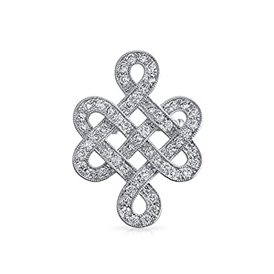 new Bling Jewelry Eternal Love Knot CZ Wedding Brooch Pin Rhodium Plated free shipping