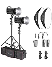 Neewer 600W Photo Studio Strobe Flash Lighting Kit: (2)S101 300W Monolight with Bowens Mount, (2)Light Stand, (2) Softbox, (1)RT-16 Transmitter, (2)Receiver, (1)Large Bag for Studio Video Shooting