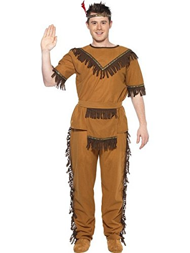 [Smiffy's Men's Indian Brave Costume, Top, pants, Belt and Headband, Western, Serious Fun, Size M,] (Male Indian Costumes)