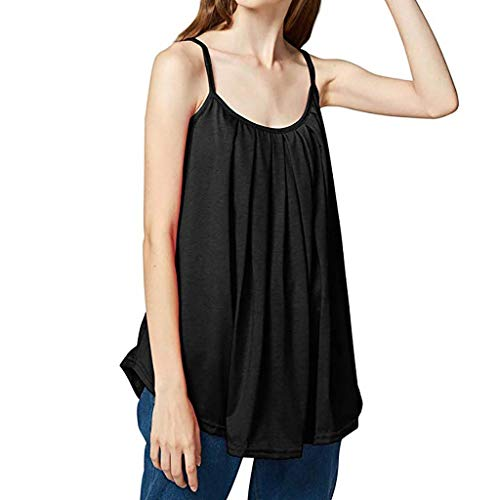 Women's Camisole,LuluZanm Sale! Ladies Summer Solid Color Loose Vest Tops Plus Size Strap Fashion Basic Tank Tops Black