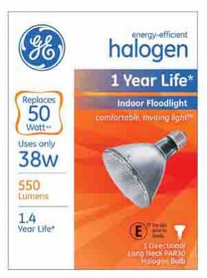 Ge Floodlight Bulb Long Neck 38 W 550 Lumens Halogen 2800 K Boxed by GE