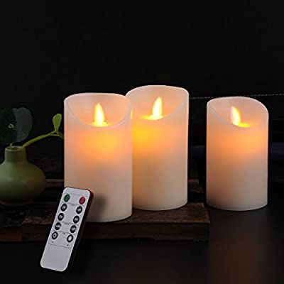 """Calm-life Classic Pillar Real Wax Flameless LED Candles 3"""" X 5"""" with Timer 10-key Remote Control Feature Ivory Color - Set of 3"""