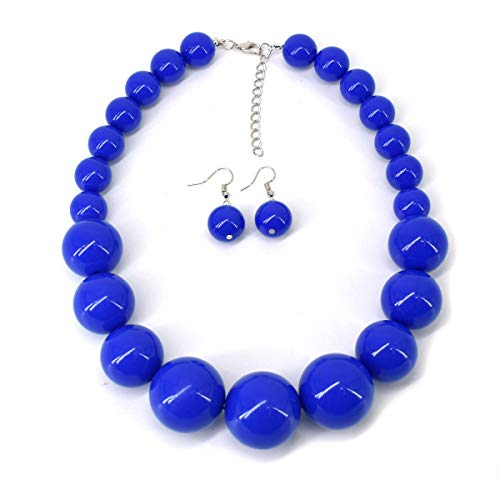 Beaded Set Jewelry Set - Utop Chunky Pearl Choker Necklace, Large Pearl Statement Necklace, Trending Choker Pearl Wedding Jewelry for Brides, Boho Pearl Jewelry Set (Royal Blue)