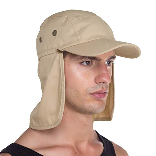 Top Level Fishing Sun Cap UV Protection - Ear and Neck Flap Hat, khk