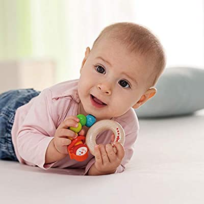 HABA Clutching Toy Rainbow Caterpillar Beech Wood Rattle & Teether with Plastic Ring (Made in Germany): Toys & Games