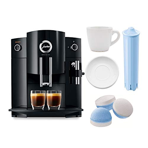 (Jura Impressa C60 Automatic Coffee Machine with 3 oz ceramic espresso cup + Blue Water Cartridge + Jura 64308 Multi-pack 2 phase cleaning tablets Bundle (Certified Refurbished))