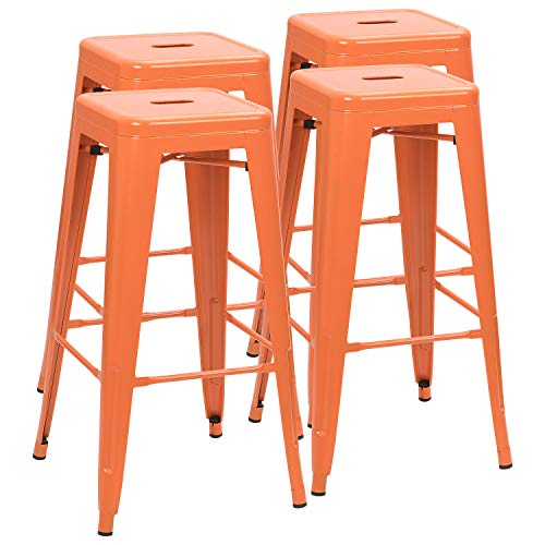 Furmax 30 Inches Metal Bar Stools Backless Stools Indoor-Outdoor Stackable Stools Set of 4 Orange