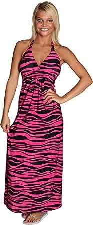 Alki'i Zebra Print Casual Evening Party Cocktail Long Halter Maxi Dress - Fuscia L/XL