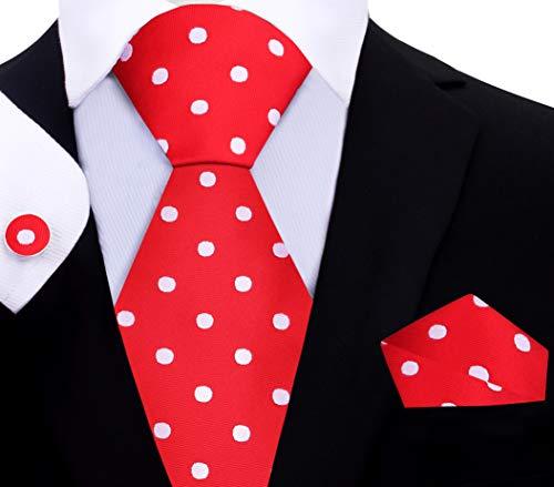 (Twenty Dollar Tie Men's Fine Polka Tie Pocket Square Cuff-links Set (Red/Medium White Dots))