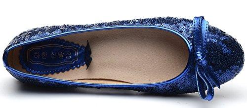 ODEMA Women Sequin Wedding Bridal Shoes Flat Single Party Dress Shoes Blue on3tZR4Hm