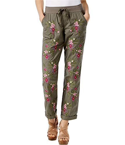 - I-N-C Womens Embroidered Casual Jogger Pants, Green, 6