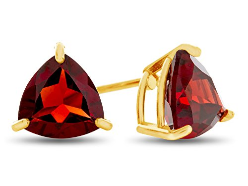 Finejewelers 7x7mm Trillion Garnet Post-With-Friction-Back Stud Earrings 10 kt Yellow Gold (January Birthstone 7mm Earrings)
