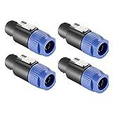 Neewer 4-Pack Speakon Cable Head -Speaker Plug Twist Lock 4 Pole Compatible with Neutrik Speakon NL4FC, NL4FX, NLT4X, NL2FC(Blue)