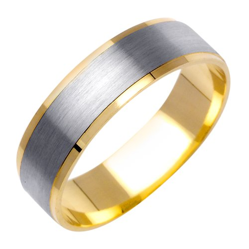14K Two Tone Solid Gold Design Carved Wedding Ring Band for Men