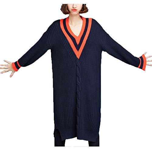 Ju-sheng Autunno e inverno nuovi prodotti allentati di grandi dimensioni semplice abito con scollo av scollo av slim Black