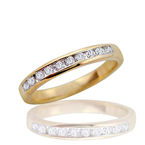 Channel Set Simulated Diamond Wedding Band Ring for Women Girl 14k Yellow Gold Plated ()