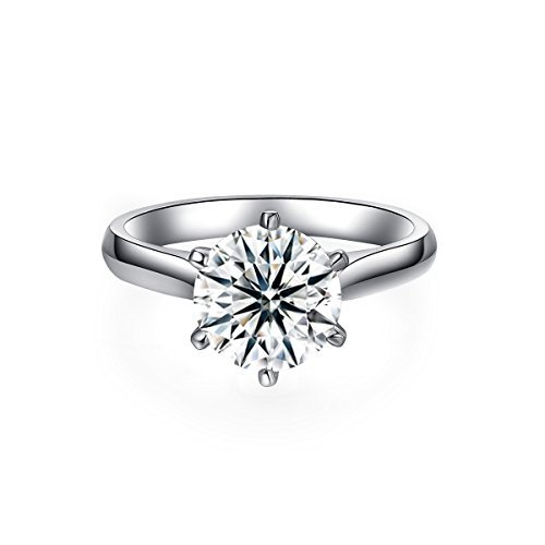 VAN RORSI&MO 2.0 Ct Moissanite Ring Diameter 8.0mm H-I Colorless Sterling Silver Engagement Rings