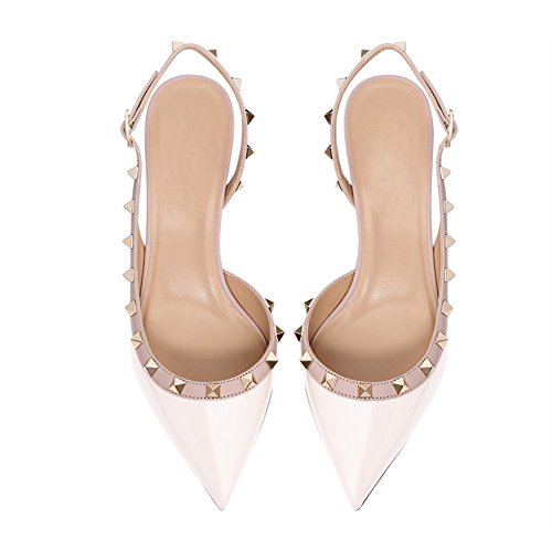 Sandals Slingbacks Dress MERUMOTE Pumps Women's Kitten White Shoes Heels Rivets WxSnXSO6
