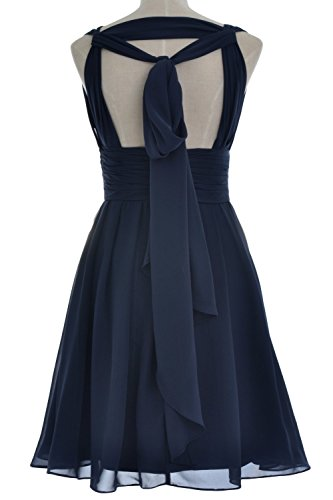MACloth Women V Neck Backless Short Bridesmaid Dress Wedding Party Cocktail Gown Rosa