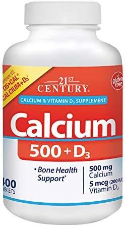 21st Century Calcium 500 Plus D Caplets, 400 Count