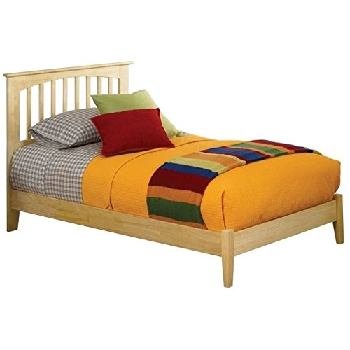 Atlantic Furniture Brooklyn Platform Bed with Open Footrail in Natural Maple - Queen