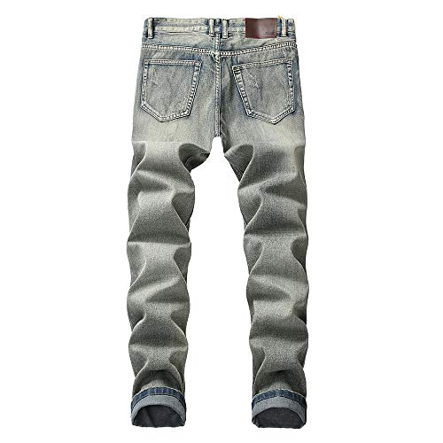 Uomo Cargo Forti Cotone Fit Elastico Lavoro Di Inverno Da Strappati Azzurro Taglie Slim Pantaloni Jeans Uomo Denim Blu Classici Casual meibax Dritti w8qtU7f