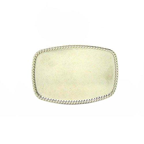 Vintage Bright Silver Plated Rope Edge Blank Diy Belt Buckle Boucle De Ceinture