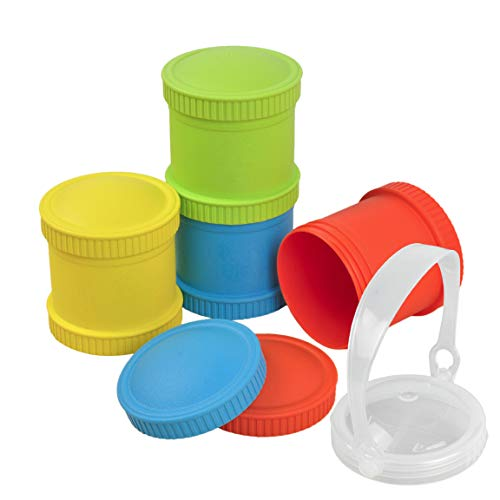 Re-Play Made in The USA 9 Piece Stackable Food and Snack Storage Containers for Babies, Toddlers and Kids of All Ages - Red, Sky Blue, Yellow, Lime (Preschool)