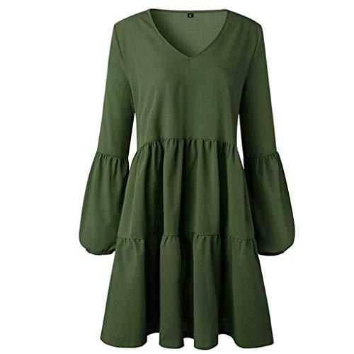 Clothful  Women Dress, WomenFashion Sexy Solid Slash Neck Print Slim Buckle Sling Long Sleeve Dress Army Green