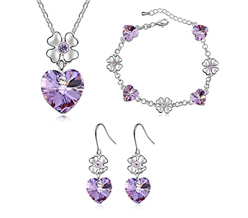 White Gold Plated Flower Love Heart Swarovski Elements Jewelry Set, Australia Import Crystal Necklace, Bracelets, Earrings Ensemble Fashion Jewelry ()