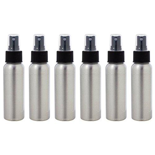 Aluminum Refillable Travel Spray Bottle Mister - 2.7 oz (6 Pack) + Travel Bag