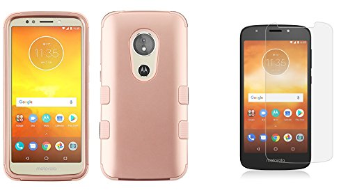 TUFF Hybrid Moto E5 Play Case Bundle with [Military Grade - MIL-STD 810G-516.6] Case - (Rose Gold), Bubble-Free Tempered Glass Screen Protector, Atom Cloth for Moto E5 Play