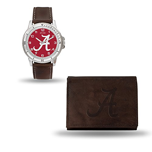 NCAA Alabama Crimson Tide Men's Watch and Wallet Set, Brown, 7.5 x 4.25 x 2.75-Inch