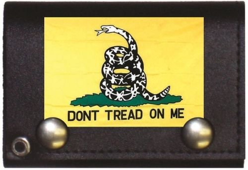 Moon Knives Gadsden Dont Tread on me Black Genuine Leather Wallet With Chain (4 inch) - Party Decorations Supplies For Parades - Prime Outside, Garden, Men Cave Decor Flag