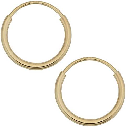 14k Yellow Gold 1mm Thick Round Tube Endless Hoop Earrings (10, 12, 14, 16 or 18 mm)