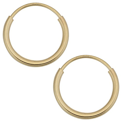 14k Yellow Gold 1mm Thick 10mm Round Tube Endless Hoop Earrings
