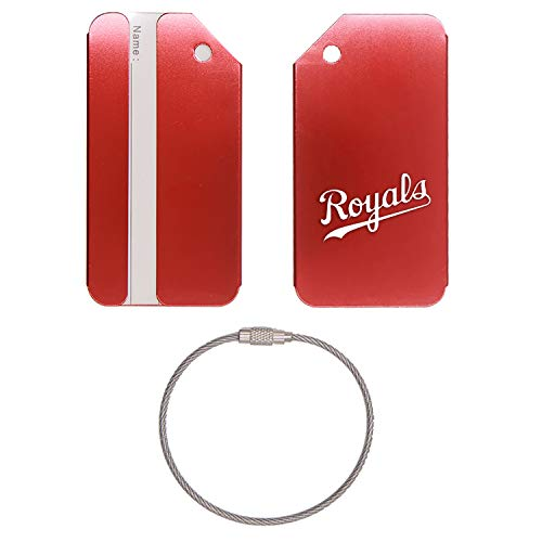 (KANSAS CITY ROYAL STAINLESS STEEL - ENGRAVED LUGGAGE TAG (SCARLET RED) - UNITED STATES MILITARY STANDARD - FOR ANY TYPE OF LUGGAGE, SUITCASES, GYM BAGS, BRIEFCASES, GOLF BAGS)