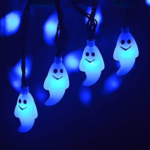 (LEVIITEC Solar Halloween Decorations String Lights, 30 LED Waterproof Cute Ghost LED Holiday Lights for Outdoor Decor, 8 Modes Steady/Flickering Lights [Light Sensor] 19.7ft)