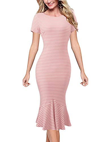 VFSHOW Womens Pink and White Pinstriped Print Knit Elegant Vintage Casual Cocktail Party Bodycon Pencil Mermaid Midi Mid-Calf Dress 3331 PIK XL