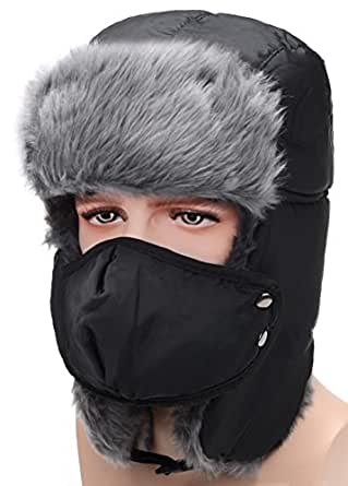 Odema Unisex Nylon Russian Style Winter Ear Flap Hat Black One Size