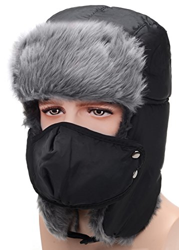 Odema Unisex Nylon Russian Style Winter Ear Flap Hat Black One Size - Russian Hat Ushanka Women