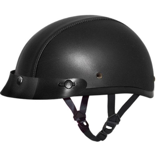 Leather Covered Motorcycle Helmet - 6