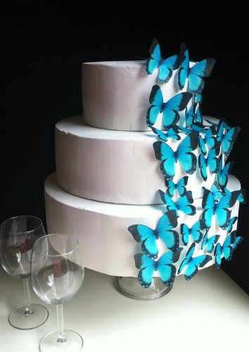 Edible Butterflies - Assorted Set of 30 Turquoise - Cake Decorations, Cupcake Topper by Sugar Robot Inc. (Image #2)