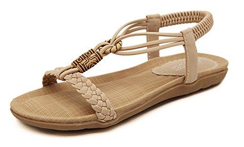 Easemax Donna Casual Open Toe T-strap Elastico Intrecciato Con Perline Di Boho Sandali Infradito Albicocca