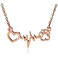ERAWAN Animal Vintage Jewelry Love Cats Dogs Paws Heartbeat Heart Pendant Necklace Gift EW sakcharn (Rose Gold)