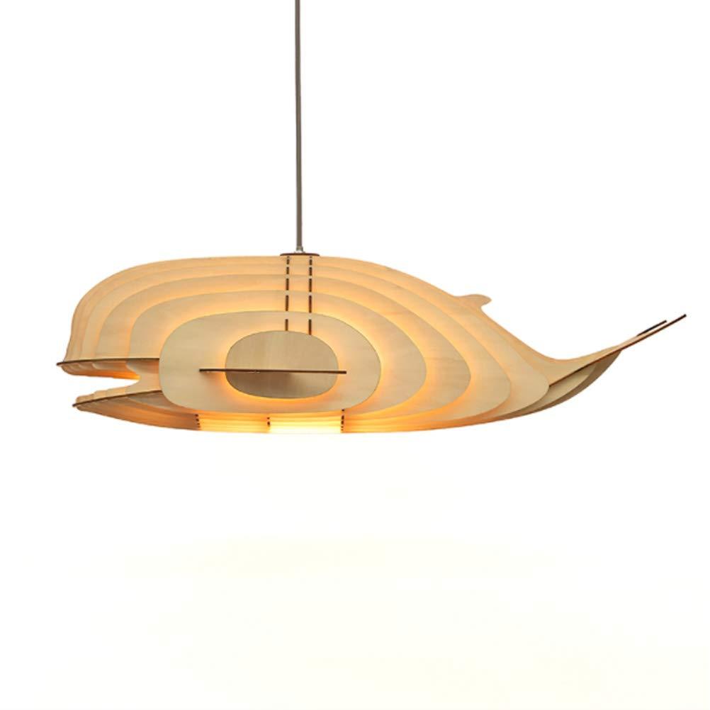 Lampenschirm Deckenleuchte AnhäNger Kronleuchter Holz Wal Form Verdrahtet Hoch Verstellbar E27 LED Puzzle Design FüR Wohnzimmer Schlafzimmer Esszimmer KüChe